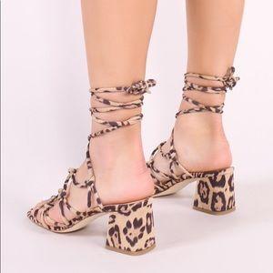 319f044b4bf Public Desire Freya Block Heel Sandal in Leopard